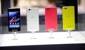 Sony's Xperia Z1 Compact telephone is on display at the Sony booth at the 2014 International CES at the Las Vegas Convention Center on January 7 2014...