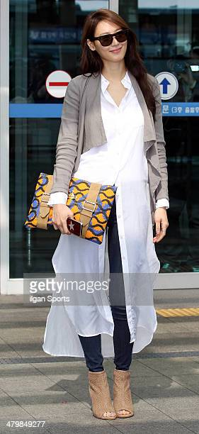 Soo Hyeon is seen at Incheon International Airport on March 10 2014 in Incheon South Korea
