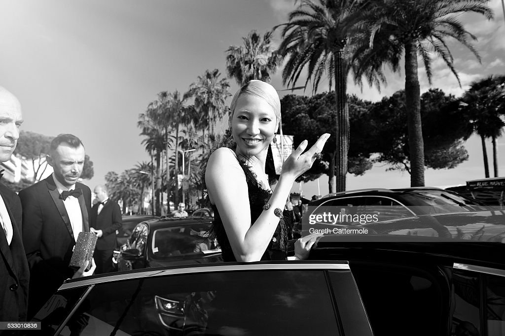 Soo Joo Pack departs the Martinez Hotel during the 69th annual Cannes Film Festival on May 18 2016 in Cannes France