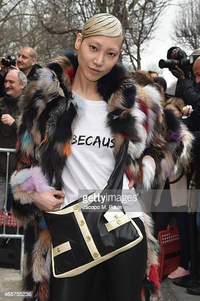 Soo Joo Park leaves the Chanel show as part of the Paris Fashion Week Womenswear Fall/Winter 2015/2016 on March 10 2015 in Paris France