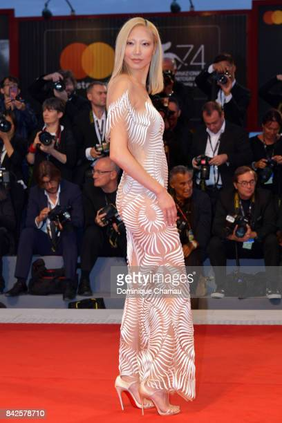 Soo Joo Park walks the red carpet ahead of the 'Three Billboards Outside Ebbing Missouri' screening during the 74th Venice Film Festival at Sala...