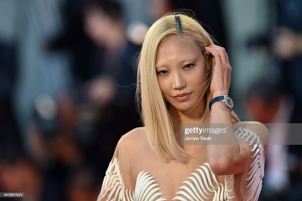 Soo Joo Park walks the red carpet wearing a Jaeger-LeCoultre watch ahead of the 'Three Billboards Outside Ebbing, Missouri' screening during the 74th Venice Film Festival at Sala Grande on September 4, 2017 in Venice, Italy.