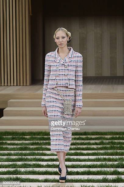 Soo Joo Park walks the runway during the Chanel Haute Couture Spring Summer 2016 show as part of Paris Fashion Week on January 26 2016 in Paris France