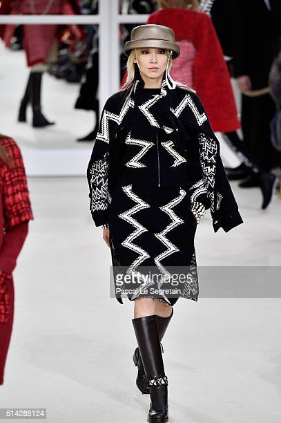 Soo Joo Park walks the runway during the Chanel show as part of the Paris Fashion Week Womenswear Fall/Winter 2016/2017 on March 8 2016 in Paris...