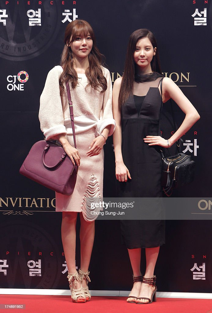 Soo Young and Seo Hyun of Girls Generation attend the 'Snowpiercer' South Korea premiere at Times Square on July 29, 2013 in Seoul, South Korea.