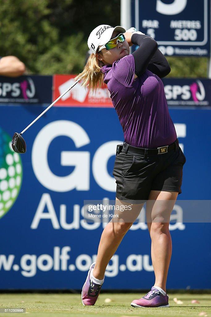 SooBin Kim of South Korea competes during day two of the ISPS Handa Women's Australian Open at The Grange GC on February 19 2016 in Adelaide Australia