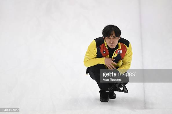 Soohyuk Kim of Korea looks on during the men's curling bronze medal game beween Chinese Taipei and Korea on day six of the 2017 Sapporo Asian Winter...