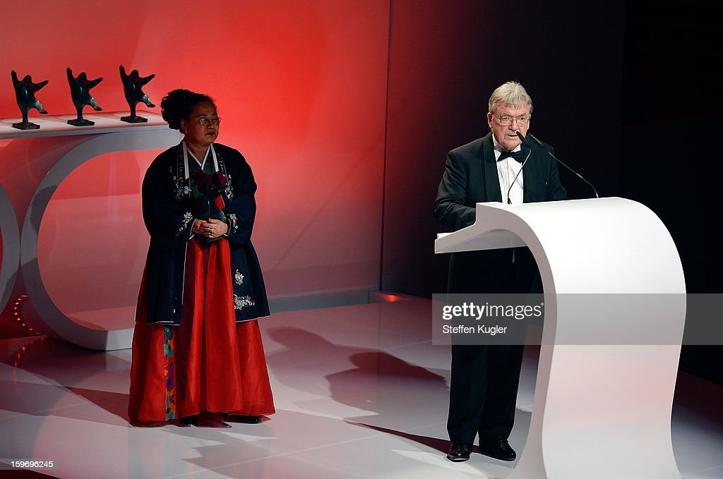 Sooki Koeppel (L) and Matthias Koeppel receive an award at the B.Z. Kulturpreis on January 18, 2013 in Berlin, Germany.