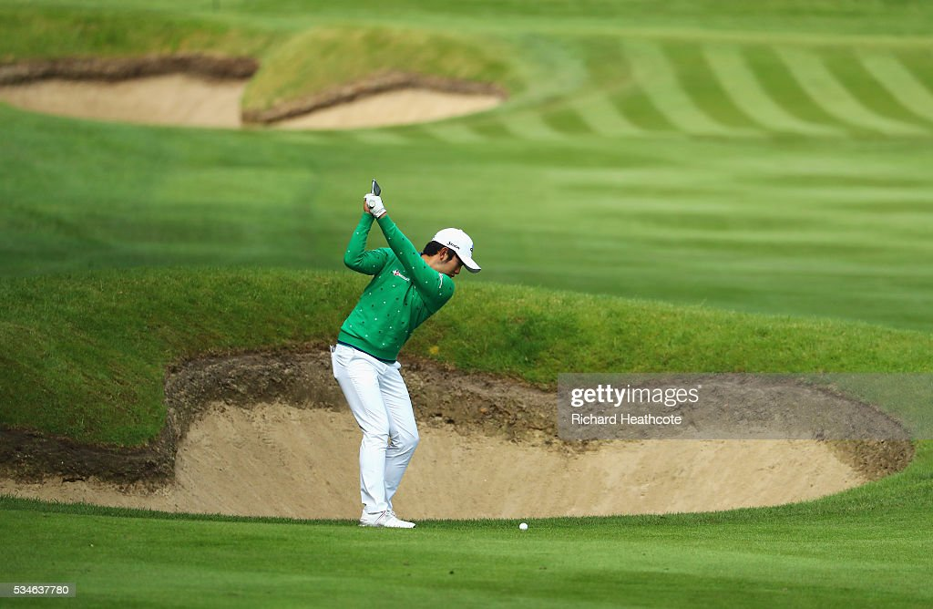 <a gi-track='captionPersonalityLinkClicked' href=/galleries/search?phrase=Soomin+Lee&family=editorial&specificpeople=14636393 ng-click='$event.stopPropagation()'>Soomin Lee</a> of Korea hits his 2nd shot on the 3rd hole during day two of the BMW PGA Championship at Wentworth on May 27, 2016 in Virginia Water, England.