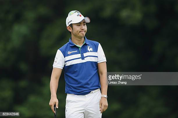 Soomin Lee of Korea reacts after the plays a shot during the third round of the Shenzhen International at Genzon Golf Club on April 23 2016 in...