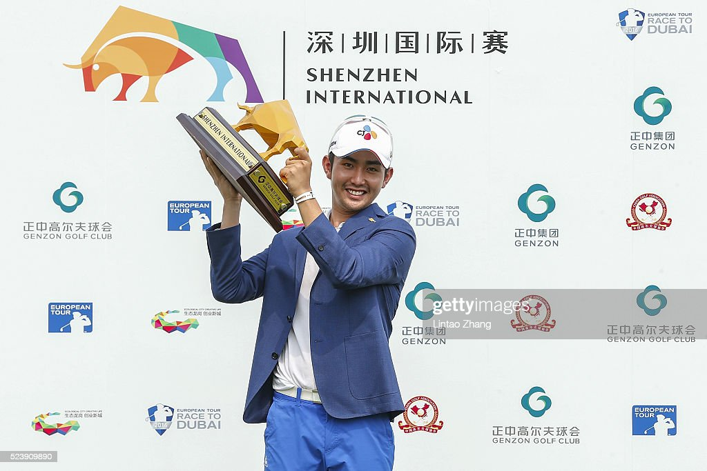 Soomin Lee of South Korea holds the trophy after winning the Shenzhen International at Genzon Golf Club on April 25, 2016 in Shenzhen, China.