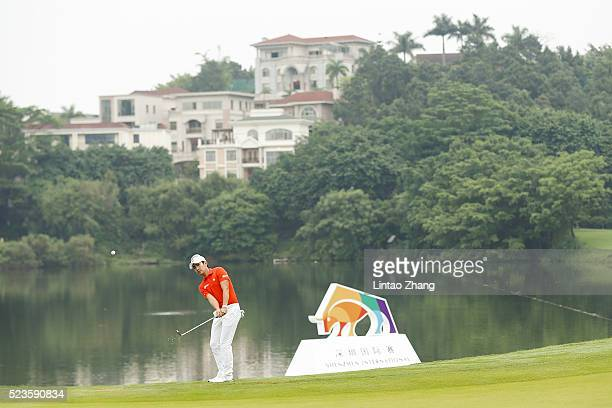 Soomin Lee of South Korea plays a shot during the third round of the Shenzhen International at Genzon Golf Club on April 24 2016 in Shenzhen China