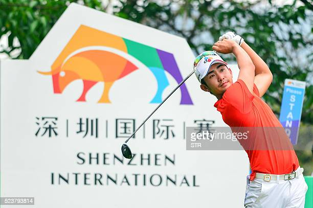 Soomin Lee of South Korea tees off during the final round of the Shenzhen International at Genzon Golf Club in Shenzhen south China's Guangdong...