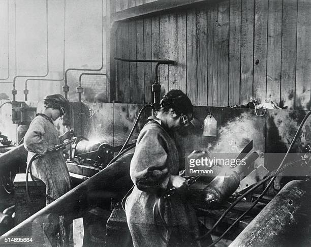 Soon in the United States as in France women took over unusual tasks World War I photograph