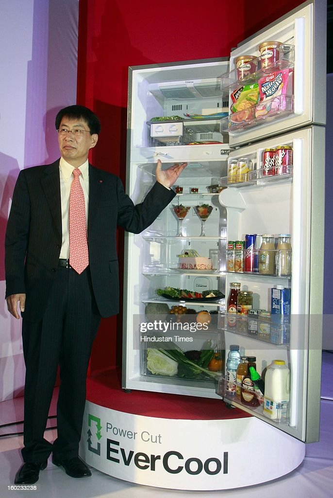Soon Kwon Managing Director LG Electronics India launch new premium range of Power Cut EverCool refrigerators on January 28, 2013 in New Delhi, India. This patented technology has ability to retain cooling for up to seven hours and freezing for two more hours without electricity.