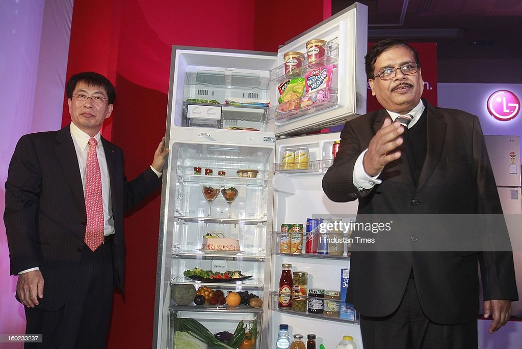 Soon Kwon (L) Managing Director LG Electronics India with YV Verma (R) Director- Home Appliances LGEIL launch new premium range of Power Cut EverCool refrigerators on January 28, 2013 in New Delhi, India. This patented technology has ability to retain cooling for up to seven hours and freezing for two more hours without electricity.