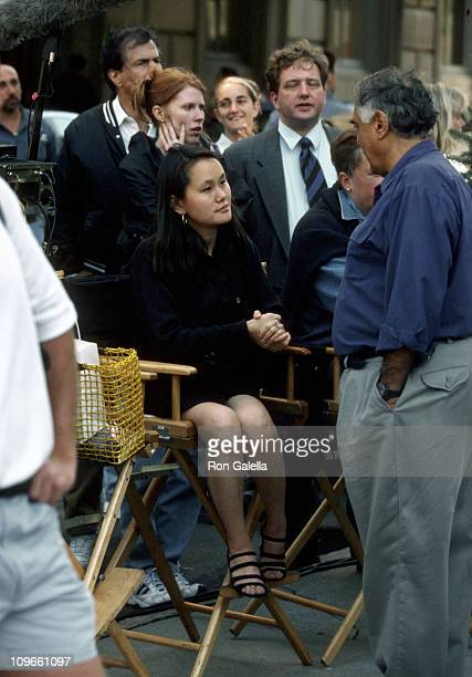 Soon Yi Previn during On the Set of Woody Allen's 'Celebrity' September 3 1997 at Outside the Stanhope Hotel in New York City New York United States