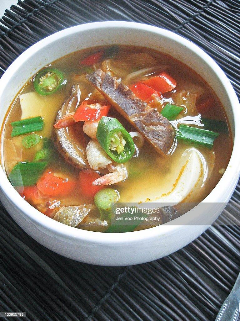 Soondubu Jjigae (Korean Soft Tofu Stew) : Stock Photo
