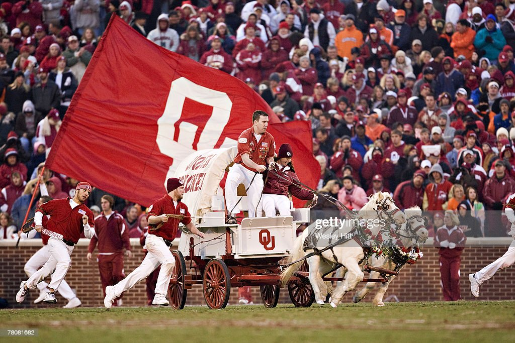Sooner Schooner mascot of the Oklahoma Sooners celebrates after a touchdown against the Oklahoma State Cowboys at Gaylord FamilyOklahoma Memorial...
