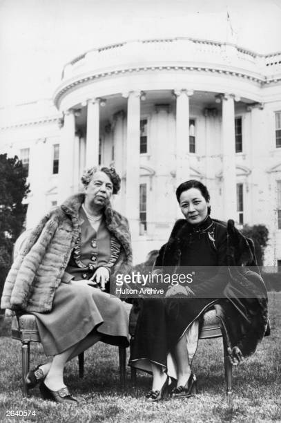 Soong Meiling right the second wife of Chinese Premier Chiang Kaishek and Eleanor Roosevelt wife of President Franklin Delano Roosevelt on the White...