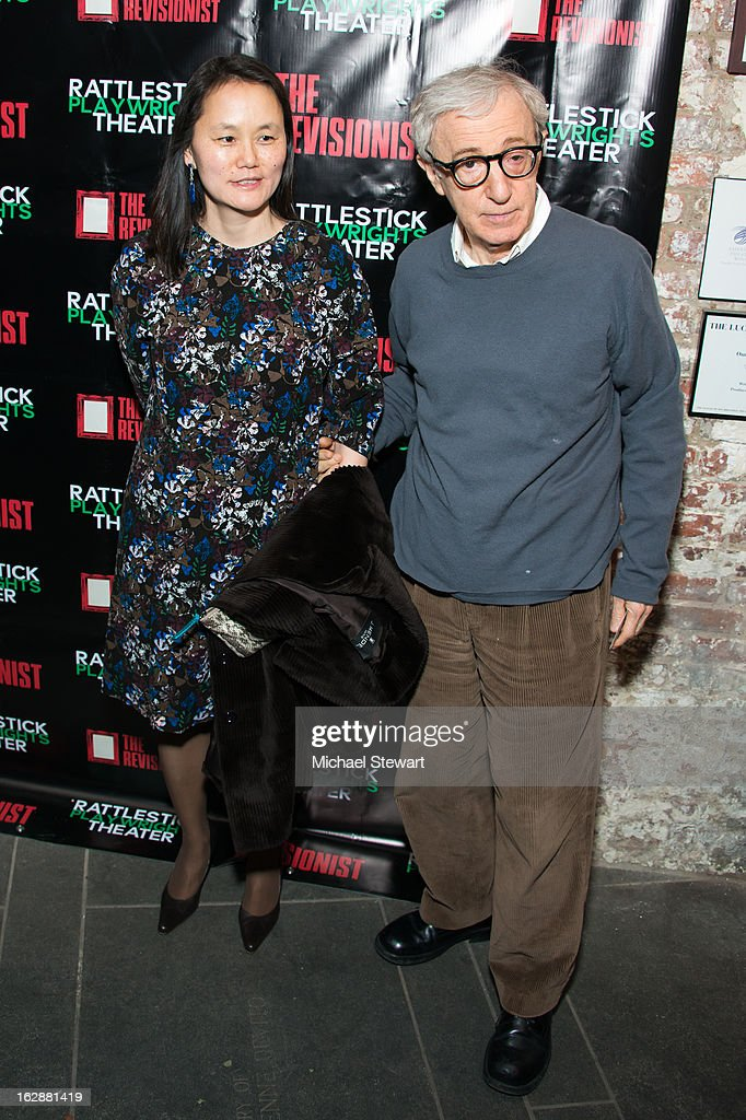 <a gi-track='captionPersonalityLinkClicked' href=/galleries/search?phrase=Soon-Yi+Previn&family=editorial&specificpeople=208814 ng-click='$event.stopPropagation()'>Soon-Yi Previn</a> (L) and director <a gi-track='captionPersonalityLinkClicked' href=/galleries/search?phrase=Woody+Allen&family=editorial&specificpeople=202886 ng-click='$event.stopPropagation()'>Woody Allen</a> attend 'The Revisionist' Opening Night at Cherry Lane Theatre on February 28, 2013 in New York City.