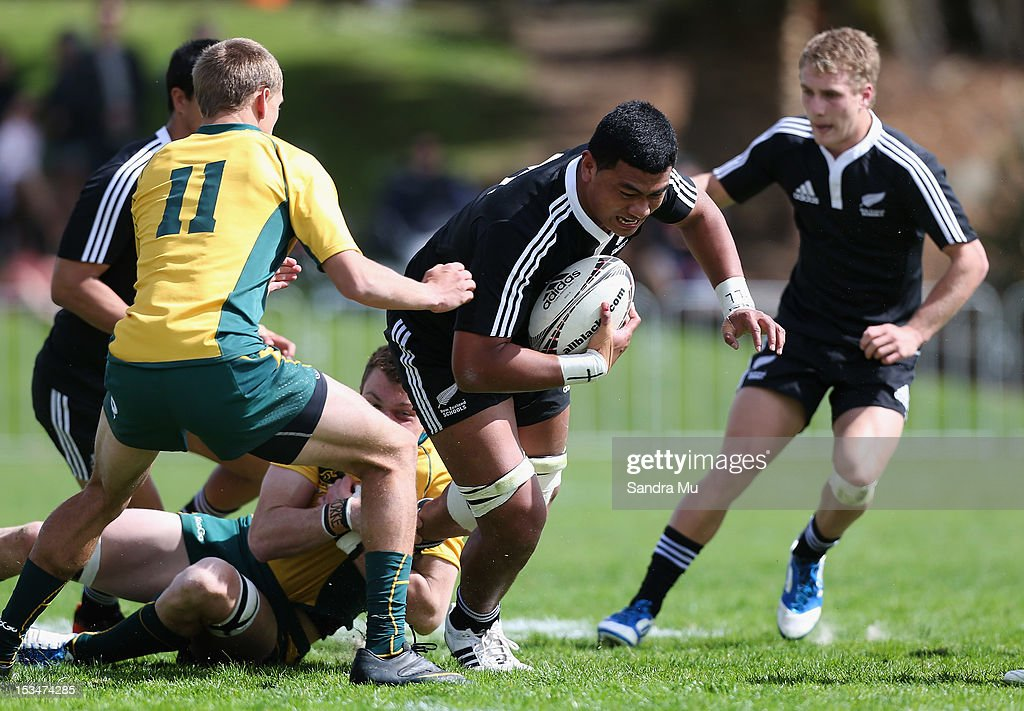 So'otala Fa'aso'o of New Zealand in action during the Test between New Zealand Schools and Australia Schools at Auckland Grammar on October 6, 2012 in Auckland, New Zealand.
