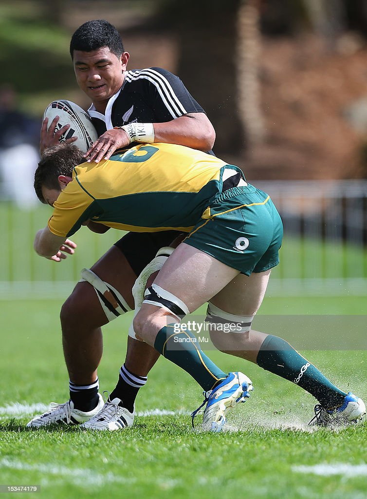 So'otala Fa'aso'o of New Zealand is tackled during the Test between New Zealand Schools and Australia Schools at Auckland Grammar on October 6, 2012 in Auckland, New Zealand.