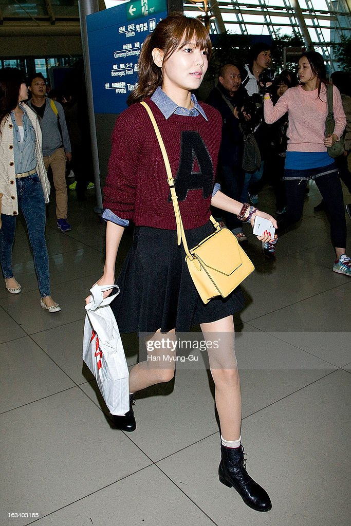 Sooyoung of South Korean girl group Girls' Generation is seen on departure at Incheon International Airport on March 8, 2013 in Incheon, South Korea.