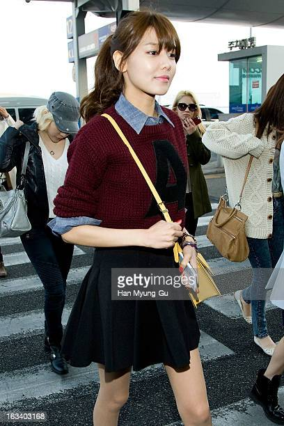 Sooyoung of South Korean girl group Girls' Generation is seen on departure at Incheon International Airport on March 8 2013 in Incheon South Korea