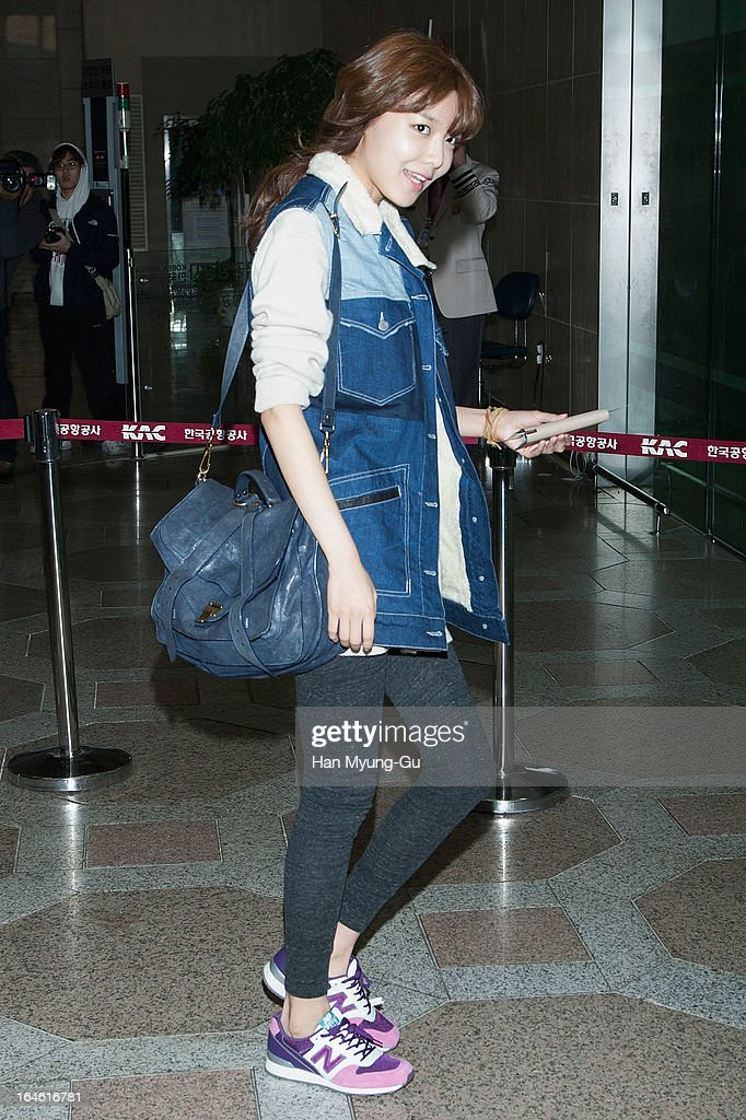 Sooyoung of South Korean girl group Girls' Generation is seen on departure to Japan at Gimpo International Airport on March 25, 2013 in Seoul, South Korea.