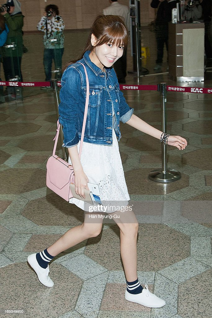 Sooyoung of South Korean girl group Girls' Generation is seen on departure to Japan at Gimpo International Airport on April 3, 2013 in Seoul, South Korea.
