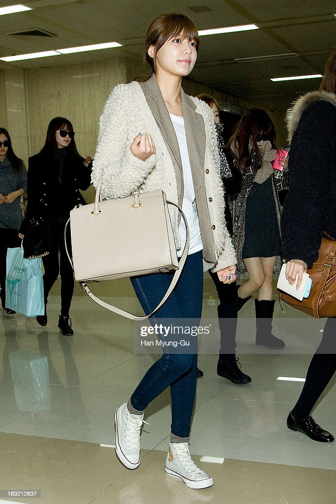 Sooyoung of South Korean girl group Girls' Generation is seen upon arrival from Japan at Gimpo International Airport on March 6, 2013 in Seoul, South Korea.