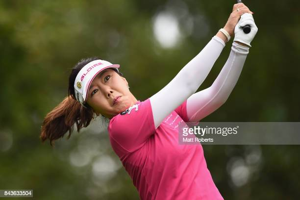SooYun Kang of South Korea hits her tee shot on the 2nd hole during the first round of the 50th LPGA Championship Konica Minolta Cup 2017 at the Appi...
