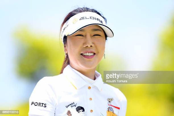 SooYun Kang of South Korea smiles during the final round of the Resorttrust Ladies at the Oakmont Golf Club on May 28 2017 in Yamazoe Japan