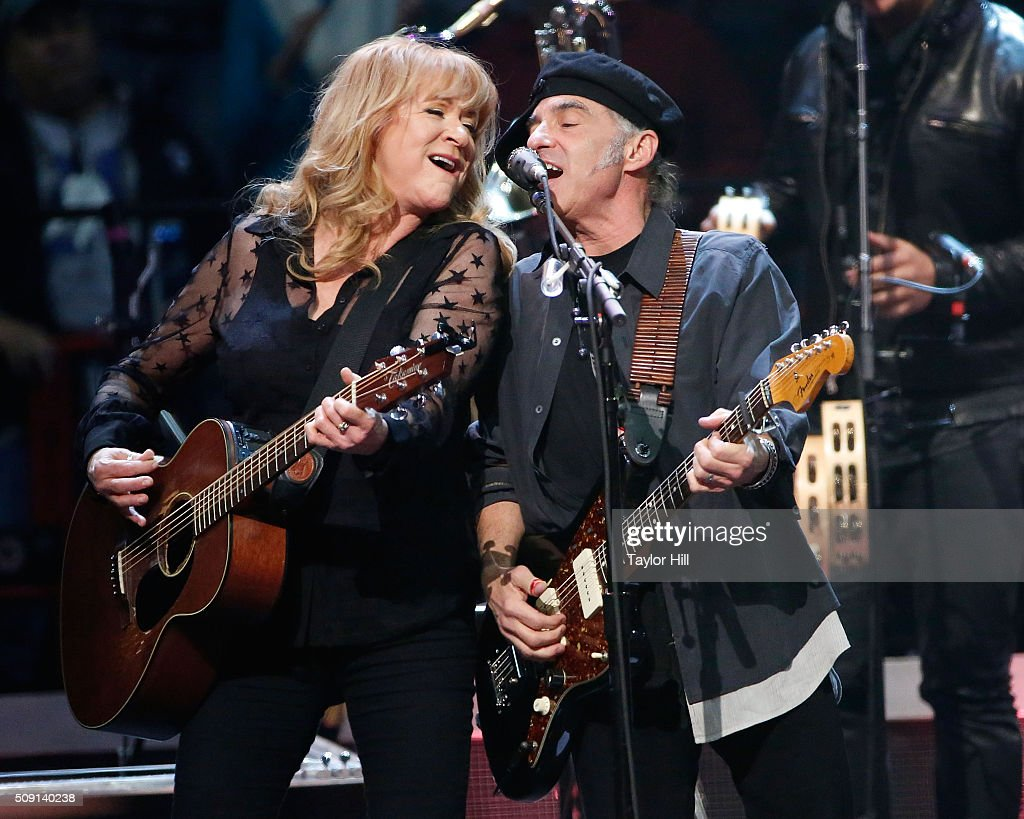 Soozie Tyrell and Nils Lofgren of The E Street Band perform at the Times-Union Center on February 8, 2016 in Albany, New York.