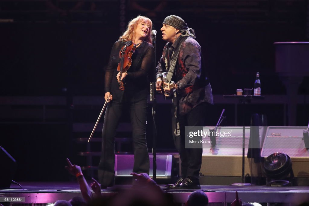 Soozie Tyrell (Violin) and Stevie Van Zandt (Guitar)perform onstage with the The E Street Band at Qudos Bank Arena on February 7, 2017 in Sydney, Australia.