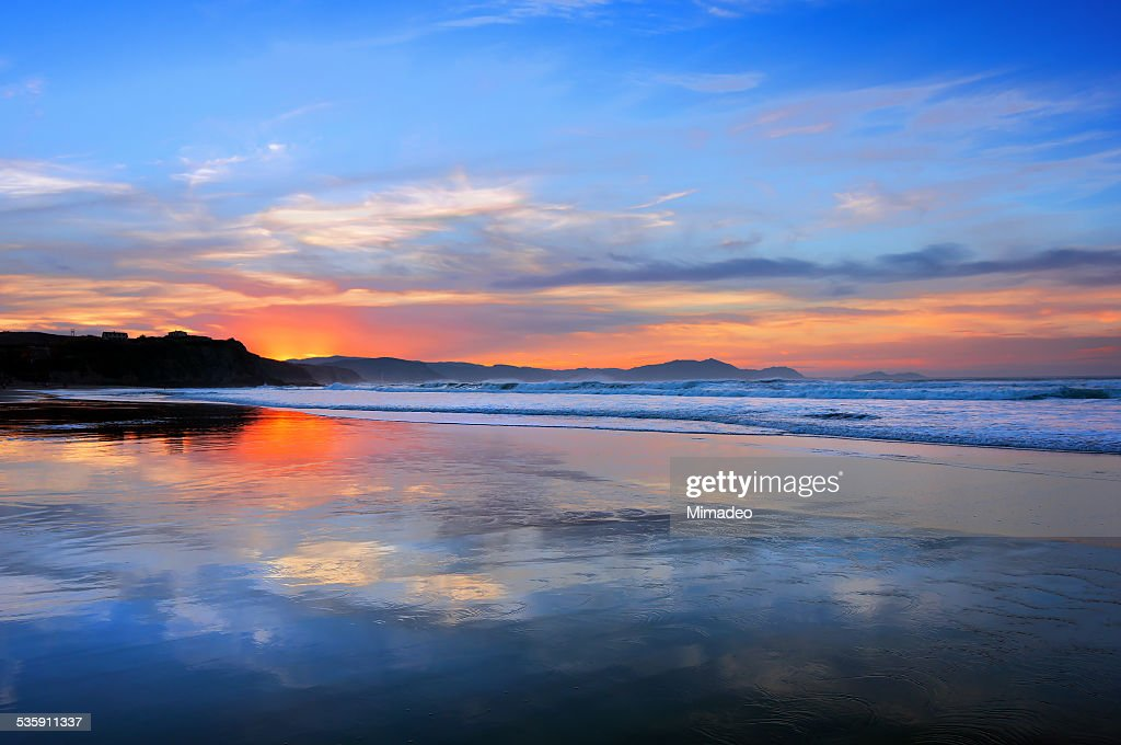 Sopelana beach at sunset : Stock Photo