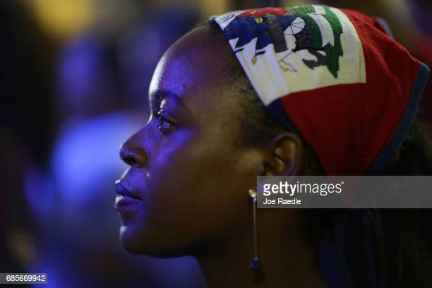 Soph Hilaire enjoys the 'Sounds of Little Haiti' concert at the Haitian Cultural Complex on May 19 2017 in Miami Florida The artists playing in the...