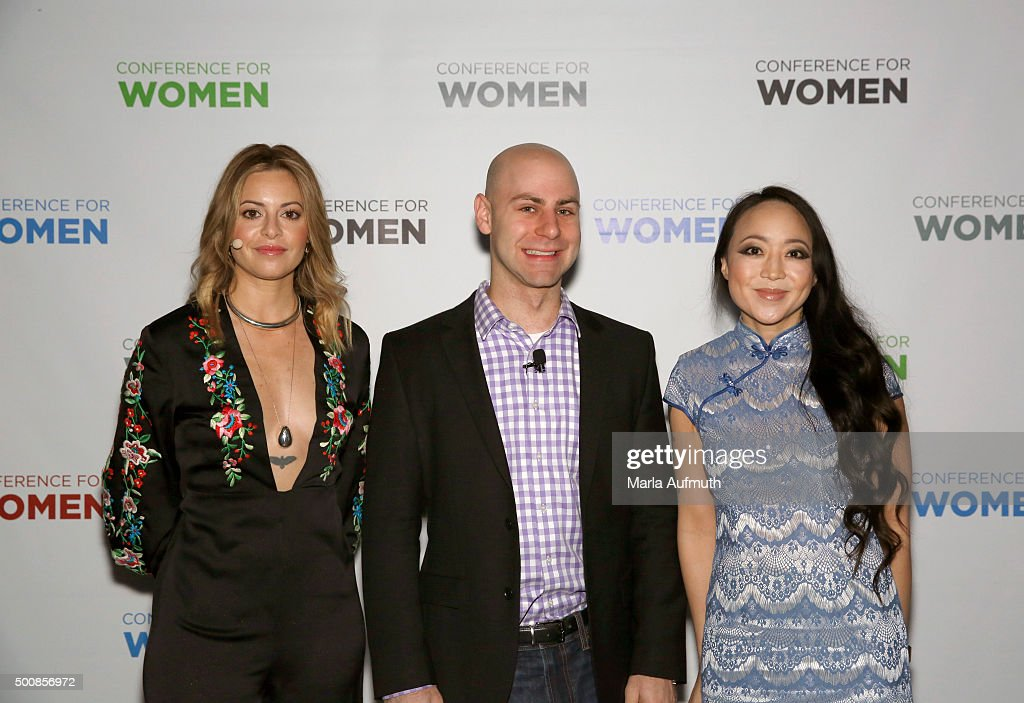 Sophia Amoruso, Adam Grant and Candy Chang attend during Massachusetts Conference For Women at Boston Convention & Exhibition Center on December 10, 2015 in Boston, Massachusetts.