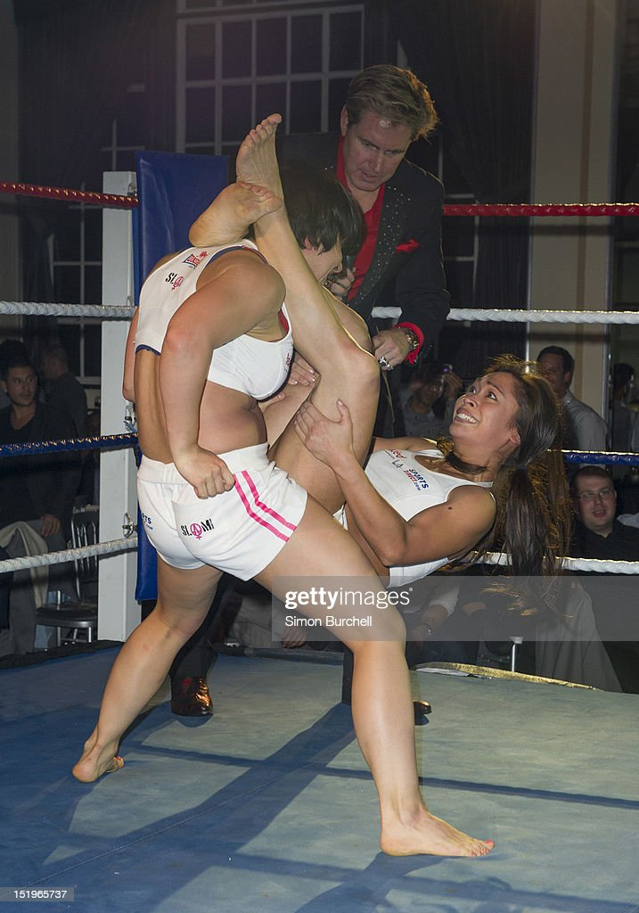 Sophia and Ina wrestle at the Loaded Magazine female wrestling tournament - Queen Of The Ring at Bloomsbury Ballroom on September 13, 2012 in London, England.
