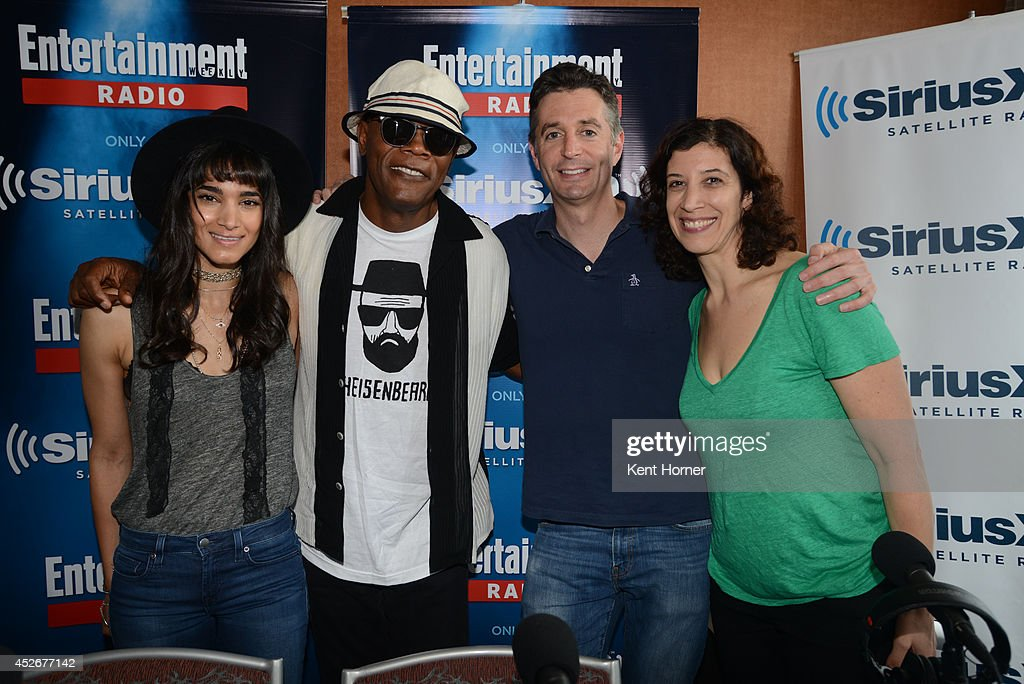 Sophia Boutella and Samuel Jackson pose with radio hosts Dan Sneirson and Jessica Shaw interviewed on SiriusXM's Entertainment Weekly Radio channel from Comic-Con 2014 at The Hard Rock Hotel on July 25, 2014 in San Diego, California.