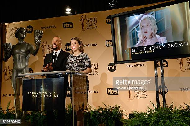 Sophia Bush and Common speak onstage at the 23rd annual SAG Awards nominations announcement at Pacific Design Center on December 14 2016 in West...
