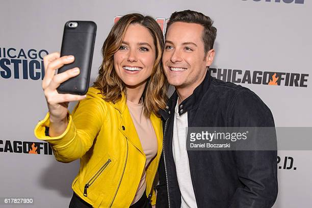 Sophia Bush and Jesse Lee Soffer take a selfie together during NBC's Chicago series press day on October 24 2016 in Chicago Illinois