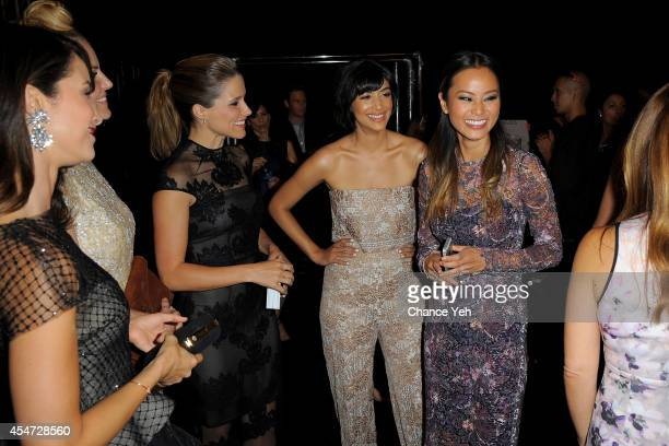 Sophia Bush Hannah Simone and Jamie Chung attend the Monique Lhuillier fashion show with Yappn Corp brings Fotoyapp to MercedesBenz Fashion Week at...