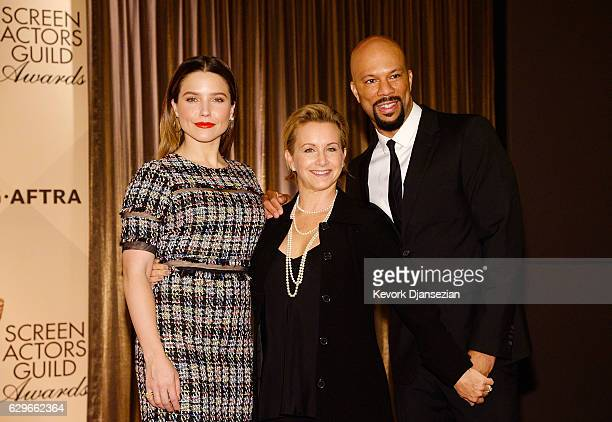 Sophia Bush SAGAFTRA President Gabrielle Carteris and Common attend the 23rd annual SAG Awards nominations announcement at Pacific Design Center on...