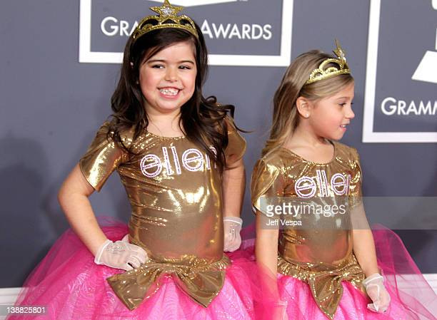Sophia Grace and Sophie arrive at The 54th Annual GRAMMY Awards at Staples Center on February 12 2012 in Los Angeles California