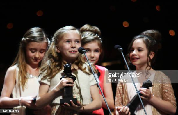Sophia Kiely Kerry Ingram Eleanor Worthington Cox and Cleo Demetriou accept the award for Best Actress in a Musical for 'Matilda The Musical' onstage...