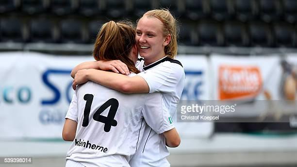 Sophia Kleinherne and Annalena Rieke of Guetersloh celebrate after the U17 Girl's German Championship Semi Final Second Leg match between FSV...