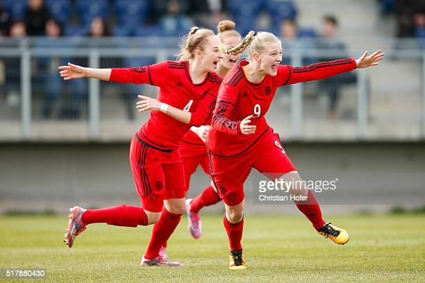 Sophia Kleinherne and AnnaLena Stolze of Germany celebrate after scoring during the U17 Girl's Euro Qualifier match between Austria and Germany at...