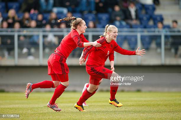 Sophia Kleinherne and AnnaLena Stolze of Germany celebrates after scoring during the U17 Girl's Euro Qualifier match between Austria and Germany at...